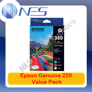 Epson Genuine #220 BK/C/M/Y Set Value Pack for WorkForce WF-2630/WF-2650/WF-2660 [P/N:T293692]