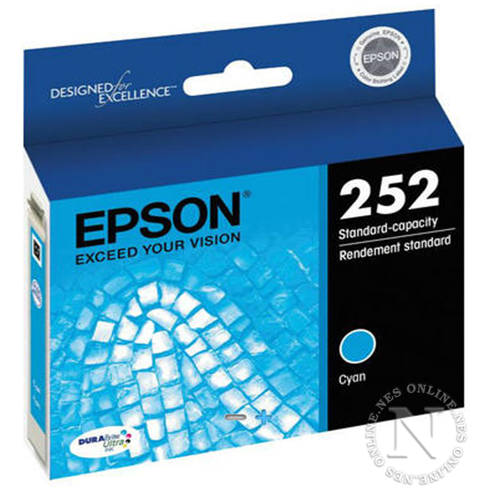 Epson Genuine 252 CYAN Standard Yield Ink Cart T252->WF-3620/WF-3640/WF-7610/WF-7620 T252292