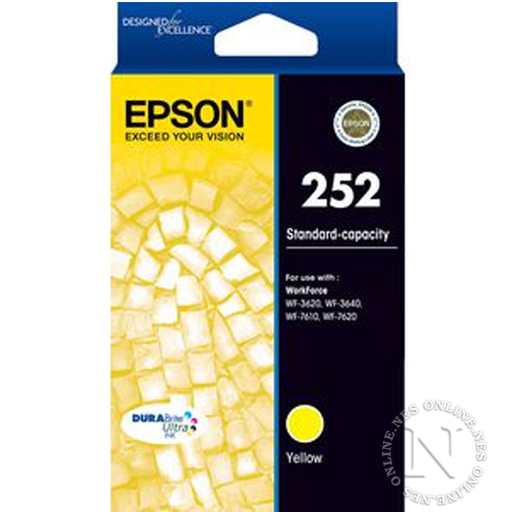 Epson Genuine 252 YELLOW Standard Yield Ink Cart T252->WF-3620/WF-3640/WF-7610/WF-7620 T252492