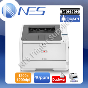 OKI B432DN Mono Laser Network Printer+Auto Duplexer+3-Yr Warranty 40ppm 45762013