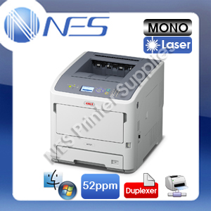 OKI B731dn Mono Laser LED Banner Printer 52ppm/256MB/1200dpi+3-Yr Wty 45487103