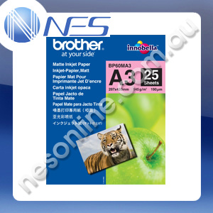 Brother BP60MA3 A3 Matte Inkjet Photo Paper 25x Sheet; 145GSM 297mmx420mm for Brother A3 Printer [P/N:BP60MA3]