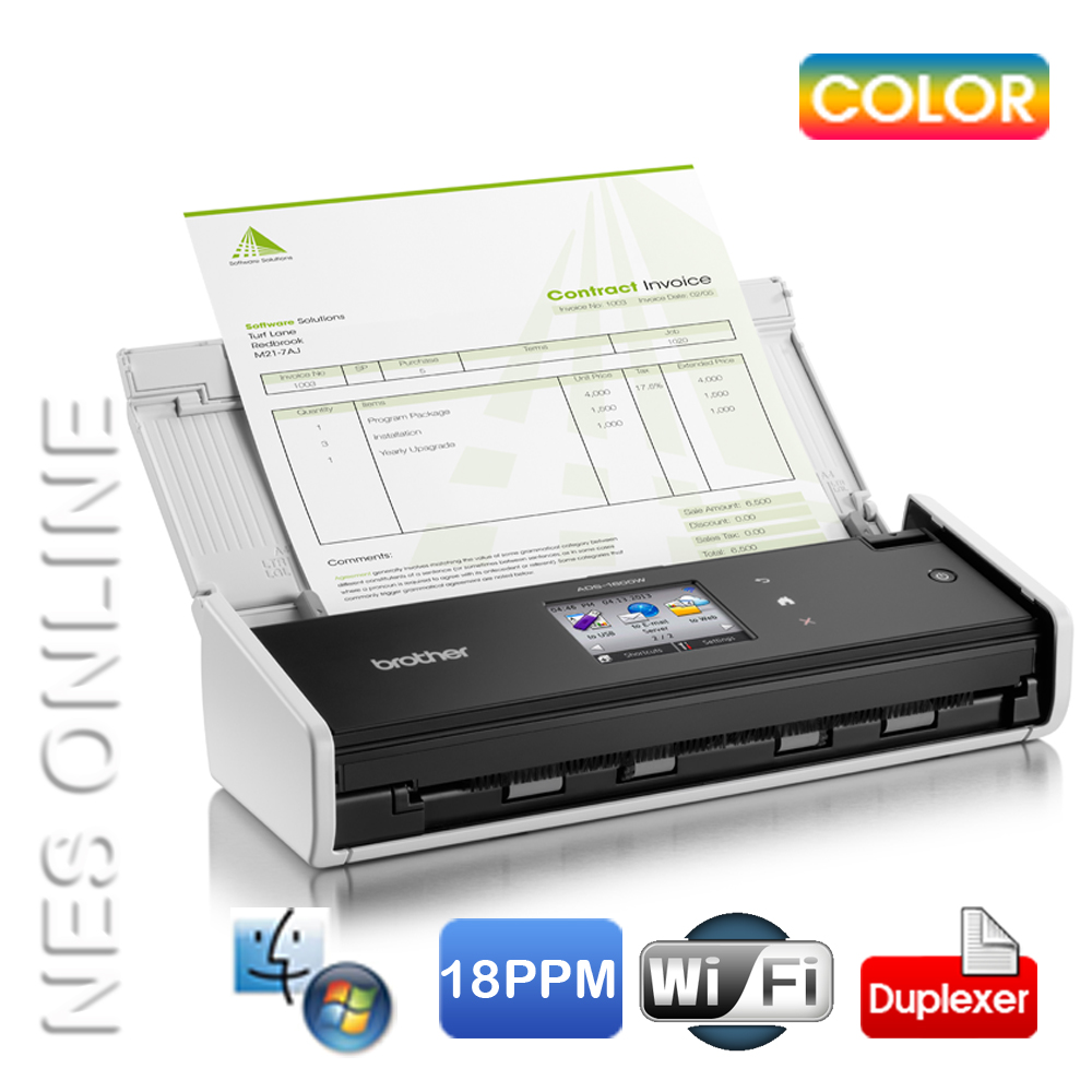 Brother ADS-1600W Compact Wi-Fi Document Scanner /w Touchscreen+ADF