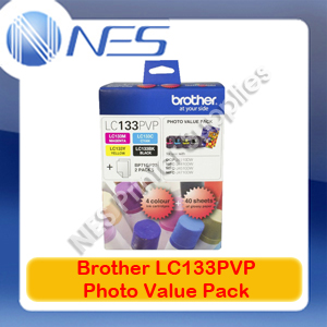 Brother Genuine LC133PVP BK/C/M/Y Photo Pack for MFC-J870DW/MFC-J6920DW/MFC-J6720DW/MFC-J6520DW/MFC-J650DW