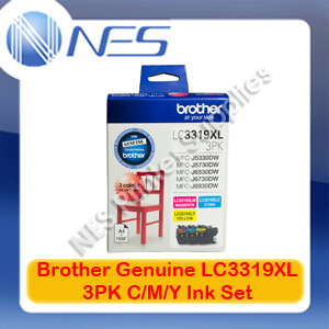 Brother Genuine LC3319XL-3PK (Set of 3) High Yield Color Ink Cartridge for MFC-J5330DW/MFC-J5730DW/MFC-J6530DW/MFC-J6730DW/MFC-J6930DW
