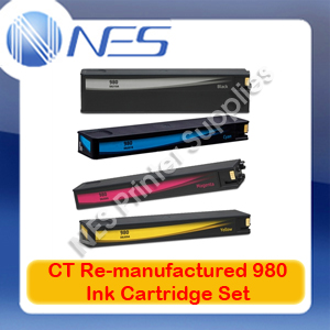 CT Re-manufactured 980 BK/C/M/Y (Set of 4) Ink Set for HP Officejet X555/X555dn/X555xh/X585/X585dn/X585f/X585z