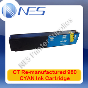 CT Re-manufactured 980 CYAN Ink Cartridge for HP Officejet X555/X555dn/X555xh/X585/X585dn/X585f/X585z [D8J07A] 6.6K