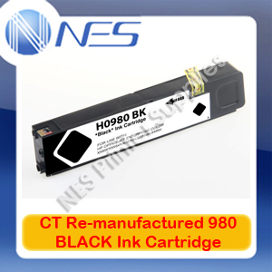 CT Re-manufactured 980 BLACK Ink Cartridge for HP Officejet X555/X555dn/X555xh/X585/X585dn/X585f/X585z [D8J10A] 10K