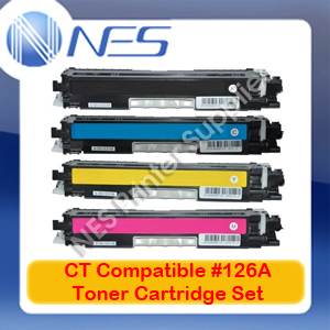 CT Compatible #126A BK/C/M/Y (Set of 4) Toner Cartridge for LaserJet CP1025/M175a/M175nw/M275nw [CE310A-CE313A]