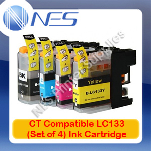 CT Compatible LC133 BK/C/M/Y (Set of 4) Ink Cartridge for Brother MFC-J870DW/MFC-J6920DW/MFC-J6720DW/MFC-J6520DW/MFC-J650DW