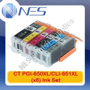 CT Compatible PGI650XL-BK/CLI651XL-KC/M/Y/GY (Set of 6x) Ink Set for Canon MX726/MX926/MG7560/MG5660/MG6660