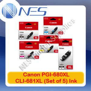 Canon Genuine PGI-680XL/CLI-681XL (Set of 5) High Yield Ink Cartridge for TR7560/TR8560/TS6160/TS8160/TS9160