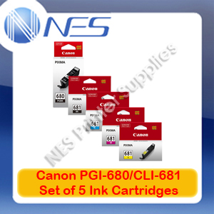 Canon Genuine PGI-680-BK/CLI-681 BK/C/M/Y (Set of 5) Ink Cartridge for TR7560/TR8560/TS6160/TS8160/TS9160