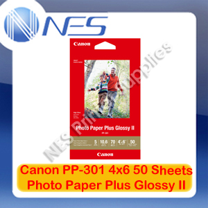 "Canon PP-301 4x6"" Photo Paper Plus Glossy II 50 Sheets 265GSM for MG7760/MG5760"