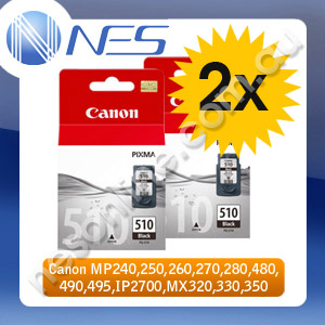 CANON Genuine 2x PG510 BLACK Ink Cartridges for CANON MP240,MP250,MP260,MP270,MP280,MP480,MP490,MP495,MX320,MX330,MX340,MX350,MX360,MX410,MX420,IP2700 Printer