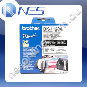 Brother DK11204 Genuine WHITE MULTI-PURPOSE RETURN ADDRESS 17x54MM (400x LABELS) for QL-500/570/650TD/1050/1050N/1060N [DK-11204] ***FREE SHIPPING!***