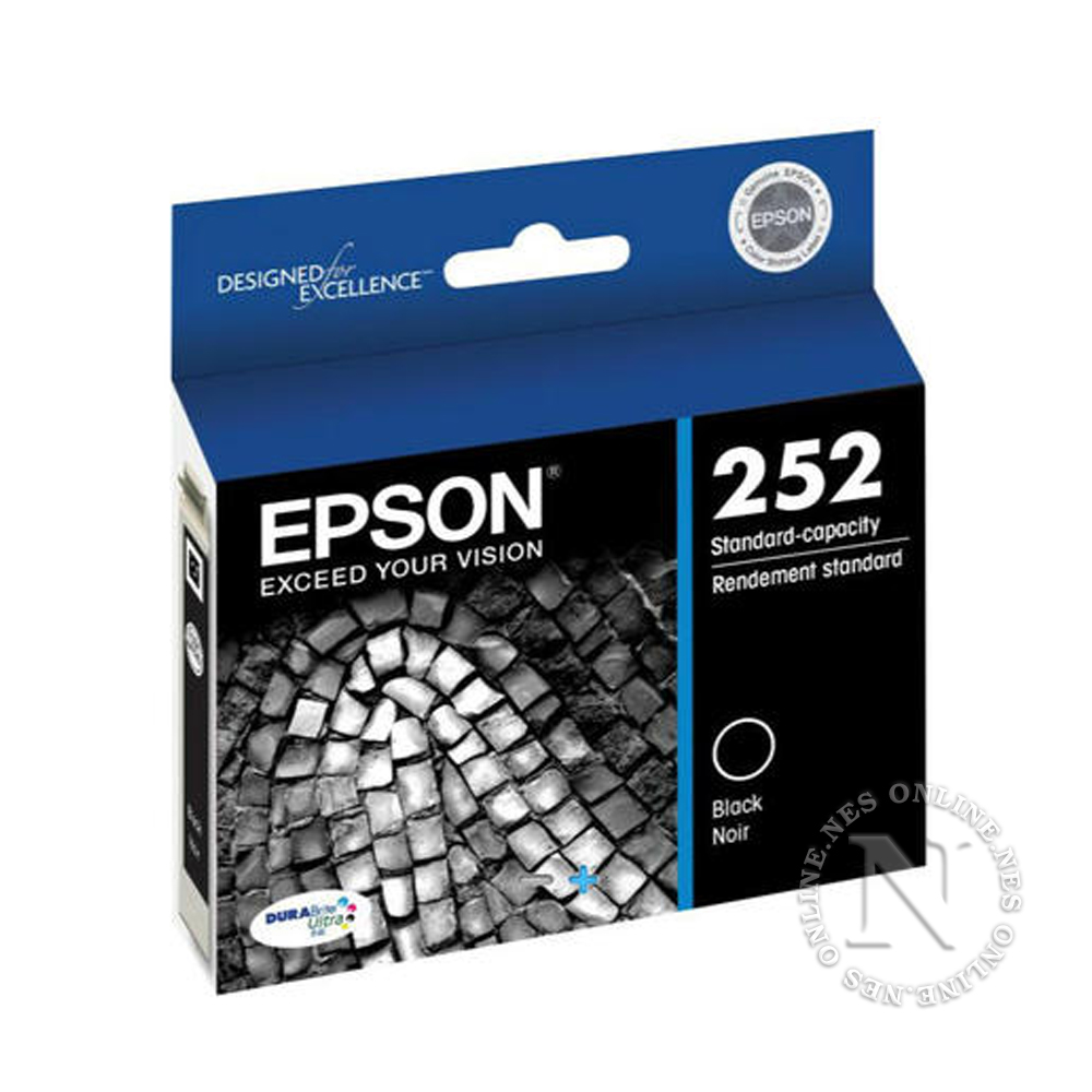 Epson Genuine 252 BLACK Standard Yield Ink Cart T252->WF-3620/WF-3640/WF-7610/WF-7620 T252192