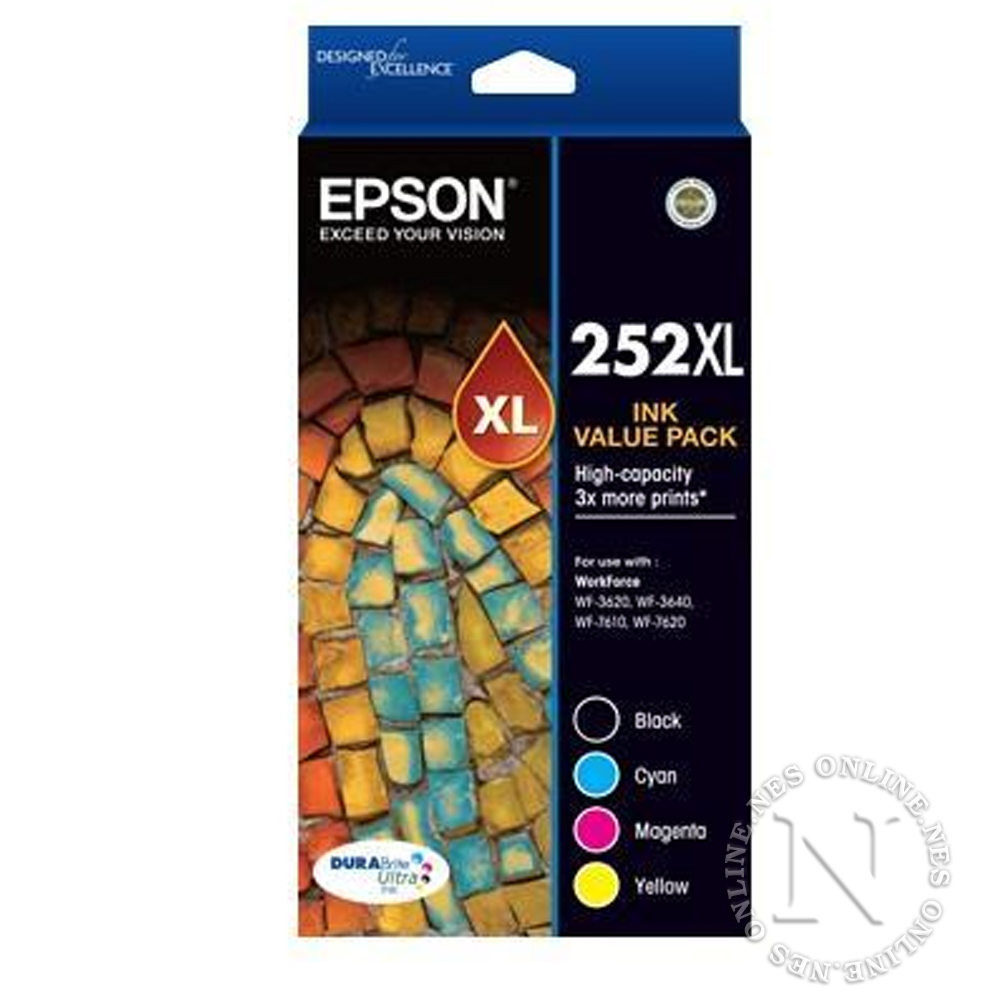 Epson Genuine 252XL High Yield Value Pack->WF-3620/3640/WF7610/7620 T253692 T253