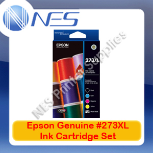 Epson Genuine #273XL BK/C/M/Y/PBK (Set of 5) High Yield Ink Cartridge for XP-820/XP-800/XP-720/XP-710/XP-700/XP-620 (T275792)