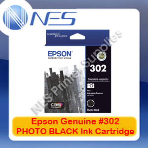 Epson Genuine #302 PHOTO BLACK Ink Cartridge for Expression Premium XP-6000 [T01W192]