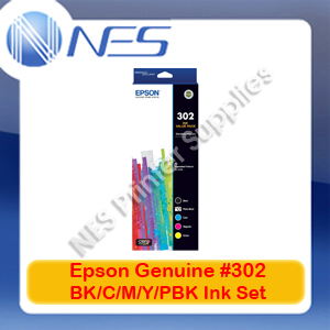 Epson Genuine #302 BK/C/M/Y/PBK (Set of 5) Ink Cartridge for Expression Premium XP-6000