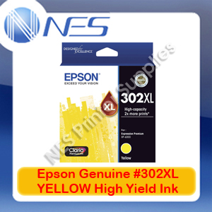 Epson Genuine #302XL YELLOW High Yield Ink Cart for Expression XP-6000/6100 [T01Y492]