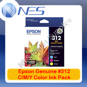 Epson Genuine #312 C/M/Y (Set of 3) Ink Color Pack for Expression XP-15000/XP-8500 [T182B923]