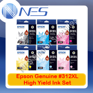 Epson Genuine #312XL BK/C/M/Y/LC/LM (Set of 6) High Yield Ink Cartridge for XP-8500/XP-15000 (T183192-T183692)