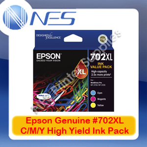 Epson Genuine #702XL C/M/Y (Set of 3) High Yield Ink Pack for WF-3720/WF-3725 [T345592]