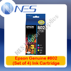 Epson Genuine #802 BK/C/M/Y (Set of 4) Ink Cartridge for WorkForce WF-4720/WF-4740/WF-4745 (C13T355692)