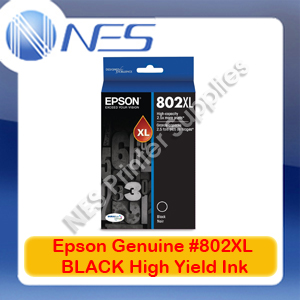 Epson Genuine #802XL-BK BLACK High Yield Ink Cartridge for WF-4720/WF-4740/WF-4745 (C13T356192)