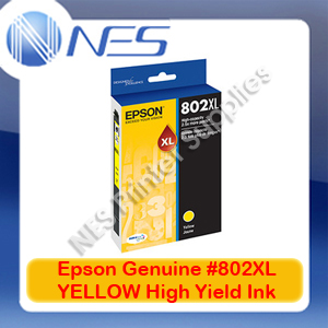 Epson Genuine #802XL-Y YELLOW High Yield Ink Cartridge for WF-4720/WF-4740/WF-4745 (C13T356492)