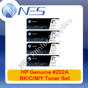 HP Genuine #202A BK/C/M/Y (Set of 4)  Toner Cartridge for M281fdw/M281fdn/M280nw [CF500A-CF503A]