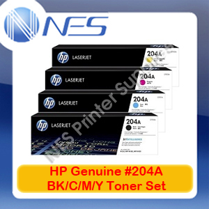 HP Genuine #204A BK/C/M/Y (Set of 4) Toner Cartridge for M181fw/M180n/M154nw [CF510A-CF513A]