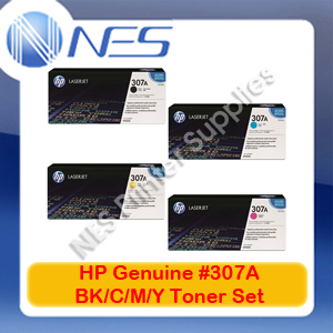 HP Genuine #307A BK/C/M/Y (Set of 4) Toner Cartridge for Color LaserJet CP5220/CP5221dn/CP5223dn/CP5223n/CP5225dn [CE740A-CE743A]