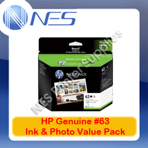 HP Genuine #63 BLACK+Tri-Color +Photo Paper->Deskjet 2130/3632/Officejet 4650