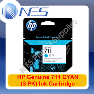 HP Genuine 711 CYAN (3PK) Ink Cartridge for Designjet T120/T520 (CZ134A)