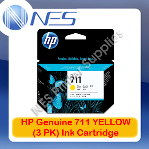 HP Genuine 711 YELLOW (3PK) Ink Cartridge for Designjet T120/T520 (CZ136A)
