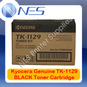 Kyocera Genuine TK-1129 BLACK Toner for FS-1061DN/FS-1325MFP P/N:1T02M70AS0 (2K) [TK1129]