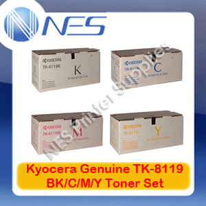 Kyocera Genuine TK-8119 BK/C/M/Y (Set of 4) Toner Cartridge for M8124cidn/M8130cidn