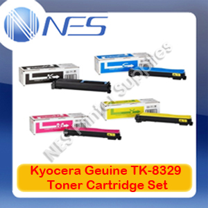 Kyocera Genuine TK-8329 BK/C/M/Y (x4) Toner Cartridge Set for TASKalfa 2551ci