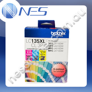Brother Genuine LC135XLCL3PK C/M/Y Ink Cartridge for J4110DW, J4410DW, J4510DW, J4710DW 1200 Pages Yield [LC135XL-CL3PK]