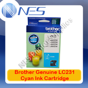Brother Genuine LC-231C CYAN Ink Cartridge for DCP-J562DW/J480DW/J680DW/J880DW