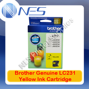 Brother Genuine LC-231Y YELLOW Ink Cartridge for DCP-J562DW/J480DW/J680DW/J880DW
