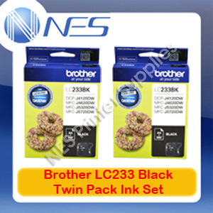 2x Brother Genuine LC233-BK BLACK Ink Cartridge for MFC-J880DW/680DW/5720DW/480DW/562DW
