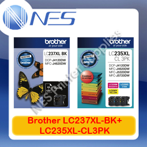 Brother Genuine LC237XL-BK+LC235XL-CL3PK (4x) Ink Set-> MFC-J4120DW/MFC-J4620DW