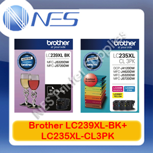 Brother Genuine LC239XL-BK+LC235XL-CL3PK (4x) Ink Set for MFC-J5320DW/MFC-J5720DW