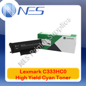 Lexmark Genuine C333HC0 CYAN High Yield Toner for MC3326adwe/C3326dw Printer (2.5K Yield)