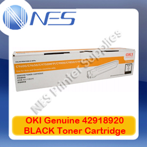 OKI Genuine 42918920 BLACK Toner Cartridge for C9600/C9650/C9800/C9850 (15K)