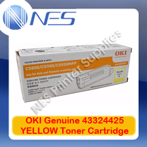 OKI Genuine 43324425 YELLOW Toner Cartridge for C5550 MFP/C5800/C5900 (5K)